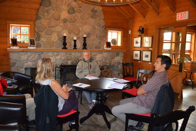 Heather Pawsey (soprano), Jordan Coble (Westbank First Nation) and Jeremy Berkman (Artistic Director of Turning Point) discuss the collaboration in the Allison House, still standing at Quails' Gate Winery.